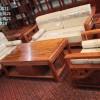 巴花新中式沙发6件套 雕刻实木双人大床 中式仿古家具