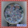 中式别墅客厅背景墙艺术挂盘 手绘大展宏图瓷盘画玄关屏风
