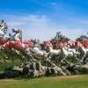 不锈钢白马雕塑,不锈钢动物雕塑,企业门口奔马雕塑