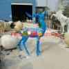 玻璃钢彩绘梅花鹿雕塑 公园玻璃钢动物景观雕塑