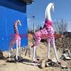 长颈鹿雕塑 公园玻璃钢彩绘雕塑