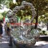公园小孩吹泡泡雕塑 不锈钢镜面雕塑