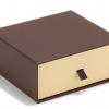 创意爆款通用皮具咖啡色抽屉盒