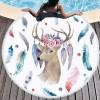 批发圆形沙滩巾印花瑜伽坐垫流苏防晒披肩跨境热销拼色涤纶桌布