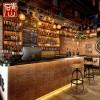 青山复古老船木酒吧装修文化石背景墙仿古人造艺术室内